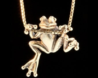 Gold Frog Necklace 14k Gold Tree Frog Charm Frog Pendant Frog Jewelry Gold Frog Lucky Frog Solid Gold Charm Solid Gold Frog Animal Charm