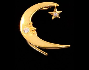 Gold and CZ Ear Wrap Moon Jewelry Crescent Moon Ear Wrap with Swinging Star Vermeil Prince Ear Wrap Moon and Star Earring Moon Ear Cuff