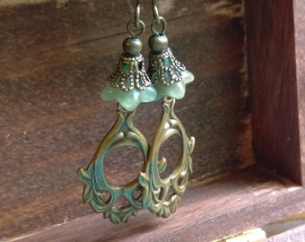 Brass filigree and glass flower Victorian earrings