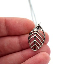 Botanical Jewelry, Skeletal Leaf Necklace, Sterling Silver Necklace, Nature Jewelry,  Oxidized Silver Metalsmith Necklace, Unusual Necklace