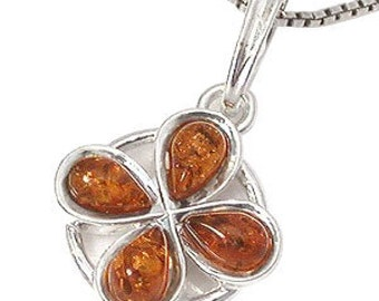 Amber Pendant, Genuine Honey Baltic Amber Sterling Silver Sun Pendant, SKU 4830