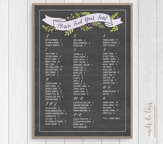 Seating Chart, Chalkboard Seating Chart, Find Your Seat, Seating ...