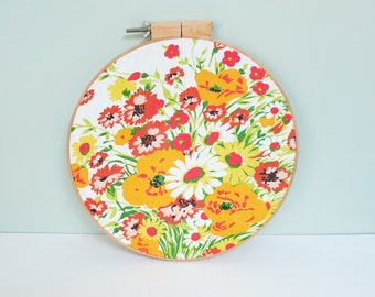 Floral Fabric Swatch Portrait Large Embroidery Hoop Art, Mid-Century Vera Neumann Vibe, Orange, Yellow & Green Flowers