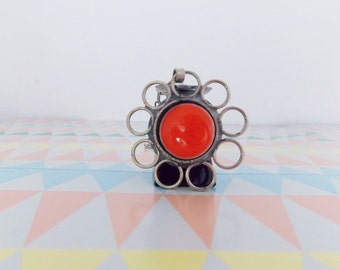 Swinging 1960s modernist necklace/ 60s chrome orange enamel necklace/ European mod jewelry