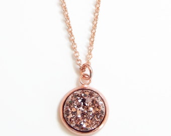 Rose gold druzy necklace in plated rose gold