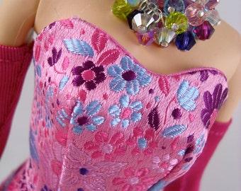 Barbie Dress - Silkstone Sheath, Pure Silk - Pink Floral