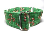 Christmas Candy Canes on Green or Red Plaid Greyhound, Whippet, Galgo, Pit Bull, Dog, Sighthound Martingale Collar