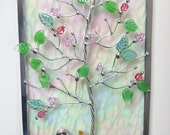 Tree of Life Stained Glass Suncatcher Iridescent Home Decor Glass Art