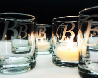 96 Personalized Monogram Candle Holders Engraved Glass Votive Holders Reception Decor Custom Personalized Wedding Favors Anniversary Candle
