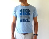 Vintage Nike TShirt / 1970s T Shirt / Four Nike Orange Swoosh / Nike T Shirt / Small S