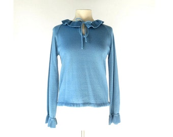 Vintage 70s Top | Stormsea | Ruffle Collar | Blue Sweater | S M