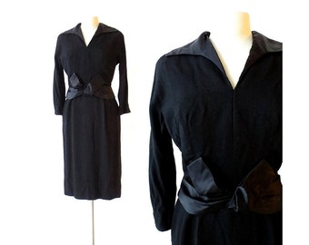 40s Black Dress / Remember the Night / 1940s Dress / Satin Dress / M L