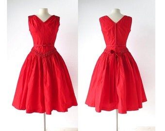 1950s Red Dress / Russian Red Taffeta Dress / 50s Party Dress / Vintage 1950s Dress / Small S