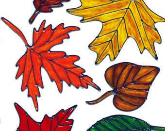 Autumn Leaves Window Cling Set (B)