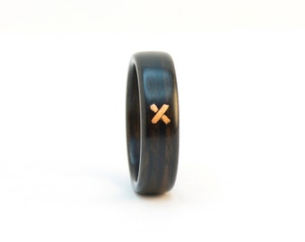 Wood and Copper Ring, Size 10, Wooden Ring, The Stitch Ring, Wood Wedding Band, Bentwood Ring, Copper Ring, Ebony Ring, Wooden Wedding Ring
