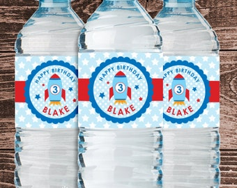 Personalized Space Rocket Party Water Bottle Labels – DIY Printable (Digital File)