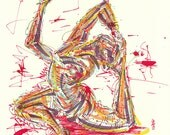 Yoga Art -- Original color drawing on paper // Eka Pada Raja Kapotasana
