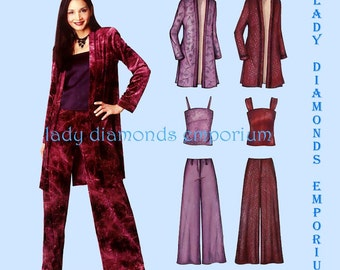 New Look 6202 Womens Camisole Duster Long Jacket Over-shirt Wide Leg Pants sz 6 8 10 12 14 16 Easy OOP Sewing Pattern Uncut FF