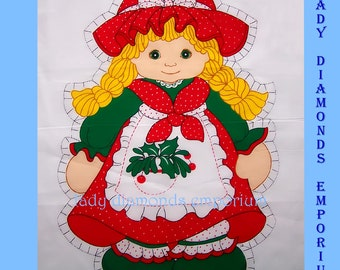 Childs Doll or Pillow Cut & Sew Fabric Panel Little Girl in Christmas Dress Spring Mills Pattern # 468