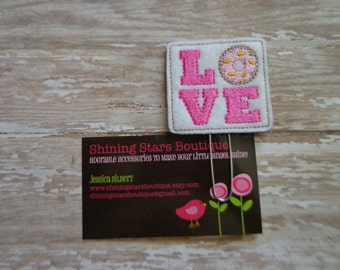 Paperclips - White And Hot Pink Love Block With A Sprinkle Donut Felt Paper Clip Or Bookmark - Girl's Accessories