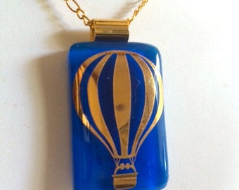 Bouyant!  Cobalt Fused Glass Pendant w/ 24k Gold Balloon and Gold Plated Chain