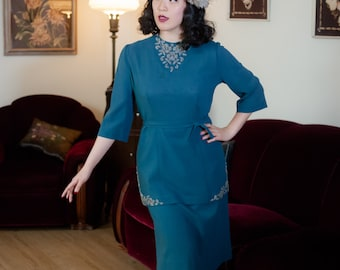 Vintage 1940s Suit - Exceptional Eisenberg Originals Cerulean Blue Rayon Crepe 40s Beaded Two Piece Skirt Suit