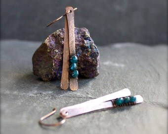 Teal Blue Apatite Gemstone Earrings - Oxidized Copper Patina, Hammered Stick, Dangle Earrings, Wire Wrap, Metalwork Boho Jewellery