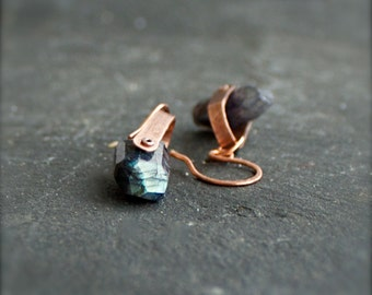 Labradorite Gemstone Swing Earrings - Dark Blue Flash, Peach Copper, Riveted Dangle, Metalwork Jewellery