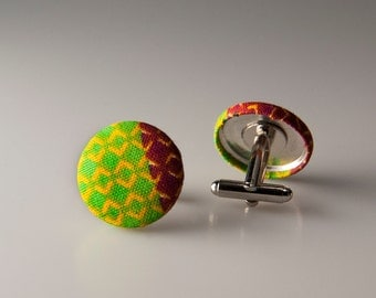 Mens gift, Kente cufflinks, African fabric cuff links, Valentines gift men, Valentines gift dad, Valentines gift husband, Gift for him, Gift