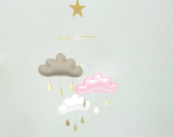 "Taupe,Pink,White cloud mobile for nursery with gold star "" TAUPE PINK"" by The Butter Flying-Rain Cloud Mobile Nursery"