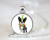 Birthday Boston Terrier Changeable Magnetic Pendant Necklace and Paw Print Organza Bag
