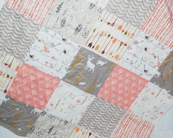 baby quilt-woodland baby quilt- elk baby quilt- pink and gray baby quilt- baby bedding-minky baby quilt- baby girl quilt