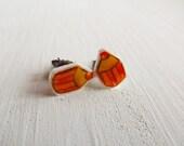 Orange pencil colors earring studs