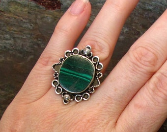 Malachite Ring ~ Large Malachite Ring ~ Banded Dark Green Stone Ring ~ Sterling Silver Boho Ring - Size 7