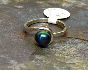 Pearl Ring: 6.5mm Peacock Blue Pearl ~ Cultured Freshwater Black Pearl in Sterling Silver ~ Bypass Ring - Size 5.5