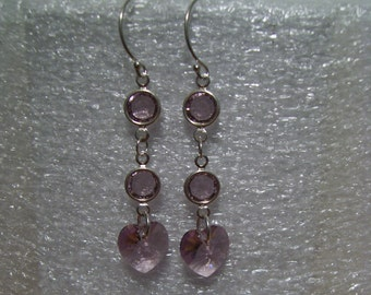 Sterling Silver Ear Wires + Swarovski Crystals of LAVENDER / LIGHT AMETHYST Earrings, Delicate, Free Shipping