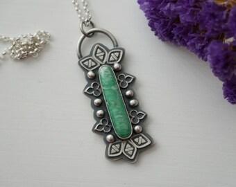 Australian Variscite Pendant Sterling Silver Handmade Jewelry