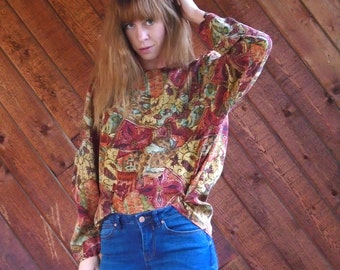 Printed Long Sleeve  70s Style SILK Blouse Shirt - Vintage 90s - LARGE L