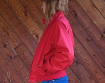 Red Harrington Jacket with Plaid Lining - Vintage 80s - SMALL S