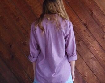 Red Gingham Button Down Shirt - Vintage 90s - MEDIUM M