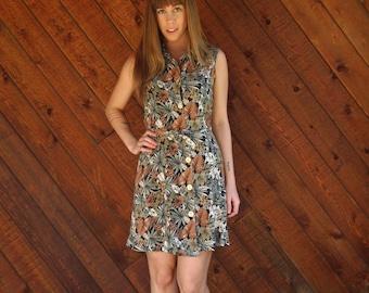 Jungle Floral Printed Mini Shirt Dress Sleeveless - Vintage 80s - SMALL
