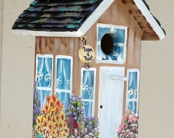 Beige Bird House , Hand Made , Hand Painted with Lots of Flowers