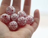 Carved Etched Round Pink Silver Acrylic Beads 18mm (6)