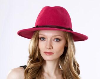 Wide Brimmed Fedora Hat Women Spring Fashion Spring Accessories Pink Hat Magenta Hat Women's Fedora Kentucky Derby Hat Spring Hat Fuchsia