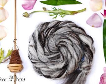 Icelandic Natural Wool Roving Combed Top Spinning or Felting Fiber Humbug Blended Top - 4 oz