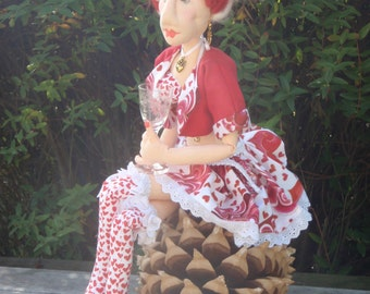 Cloth Doll Print Pattern  - Cherry - a gorgeous tarty barmaid