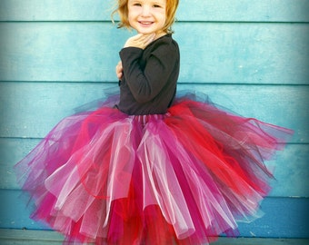Red, Wine, Chocolate, Champagne blend tulle skirt - Girls Burgundy Chocolate Tutu - Flower girls, photography prop, weddings - Made to order
