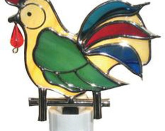 Rooster Night Light Stained Glass Leaded Glass