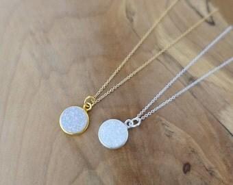 10mm White Druzy Necklace, Silver Druzy Necklace, Gold Druzy Necklace, White Druzy Necklace, Gold Filled Druzy Necklace, Round Druzy Pendant
