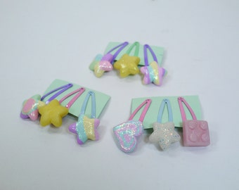 Polymer clay pastel fairy kei star hair clips - Decora decoden pastel accessories